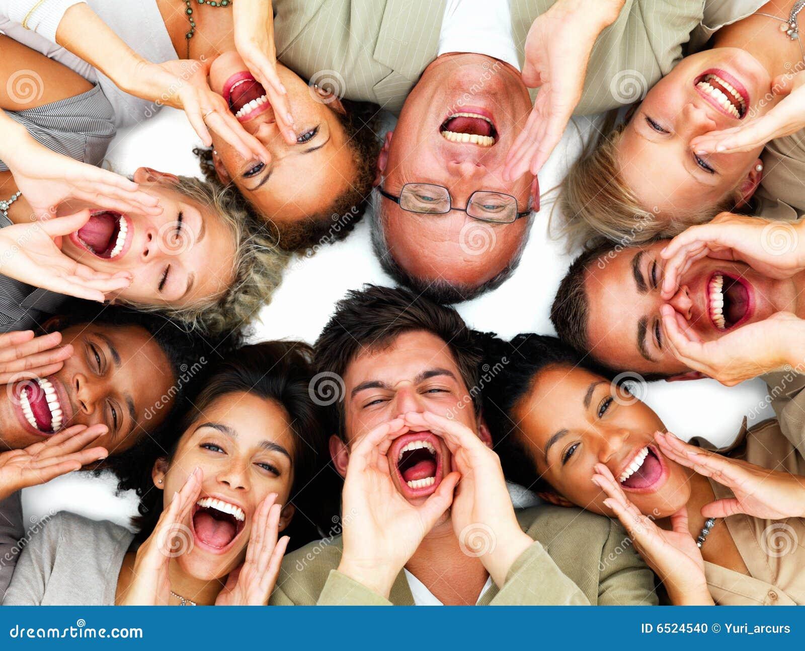 Group Of People Yelling Hey Stock Photo Image 6524540