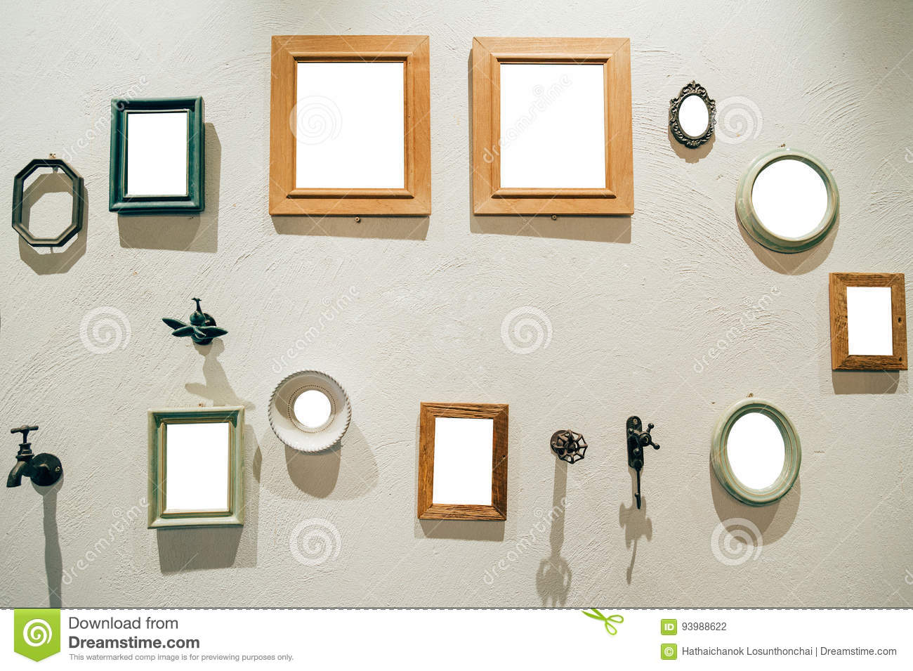 Group Of Picture Frames On The Wall. Stock Photo - Image of border ...
