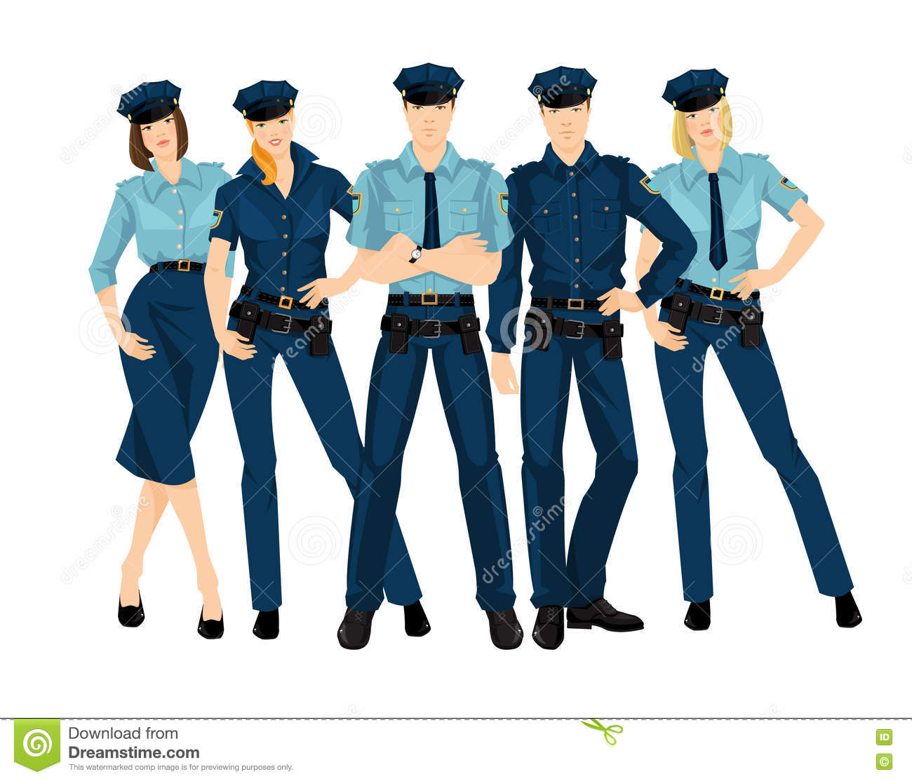Group Of Police Men And Women. Stock Vector - Illustration ...