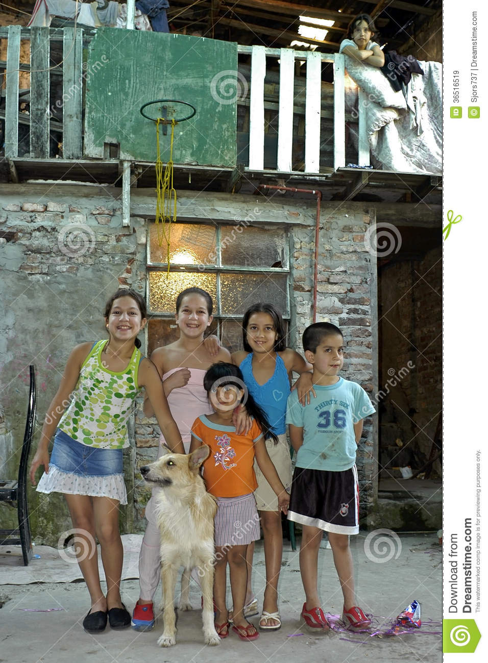 Group Portrait Of Children With Pet Argentina Editorial