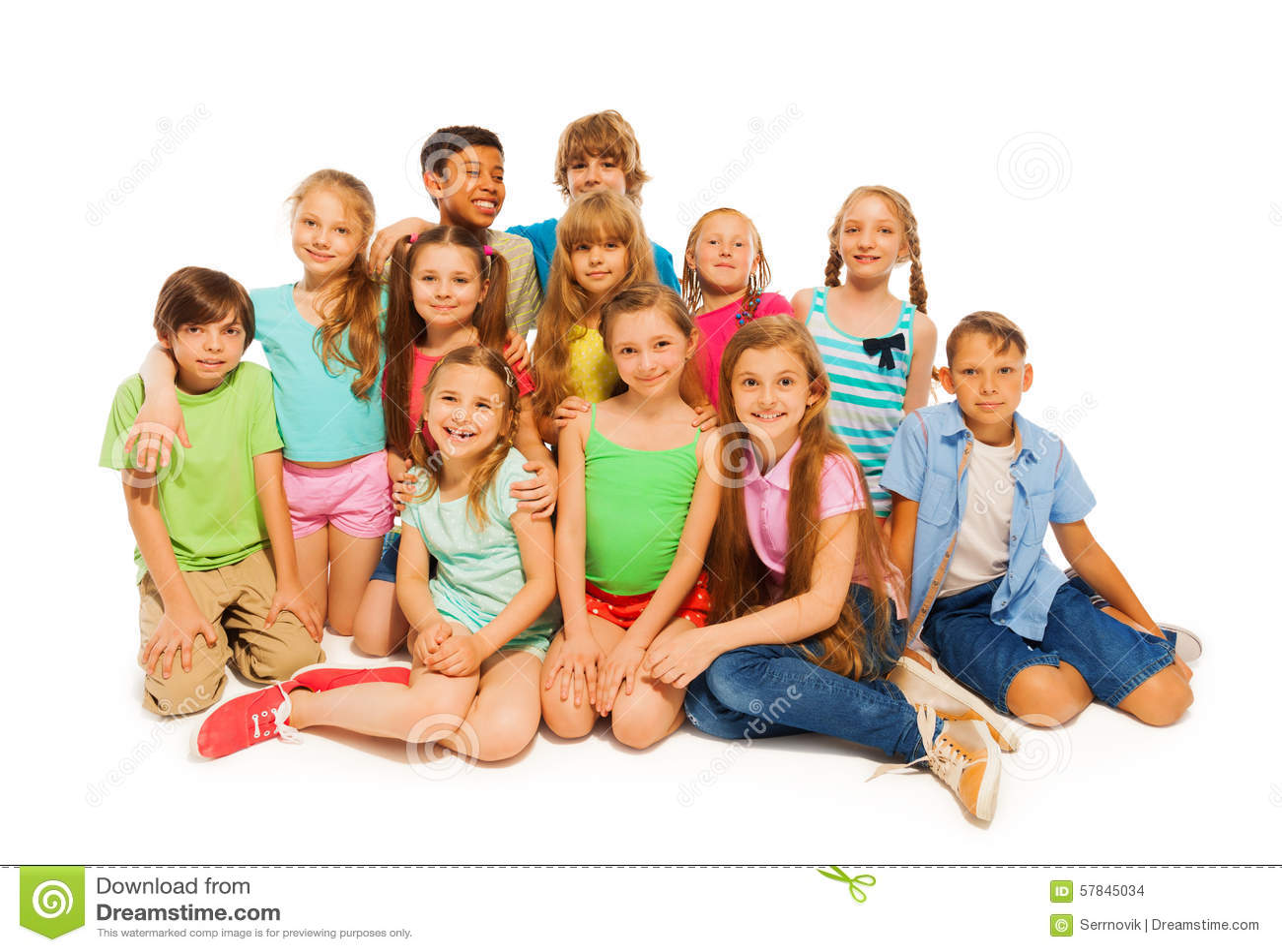 pre teens Group Portrait Of Cute Preteens Stock Photo