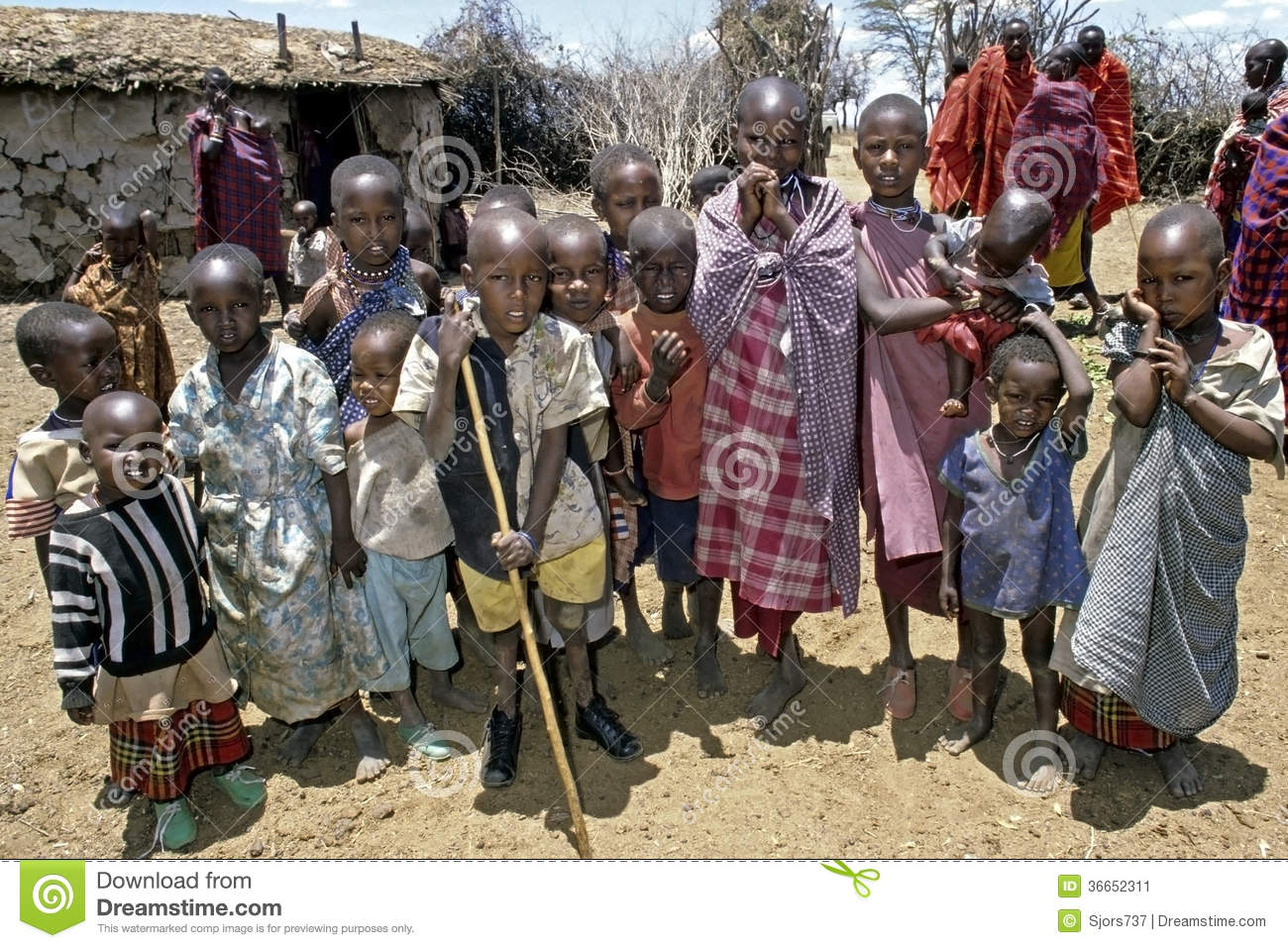 Group Portrait Of Maasai Children, Kenya Editorial Photo -2916