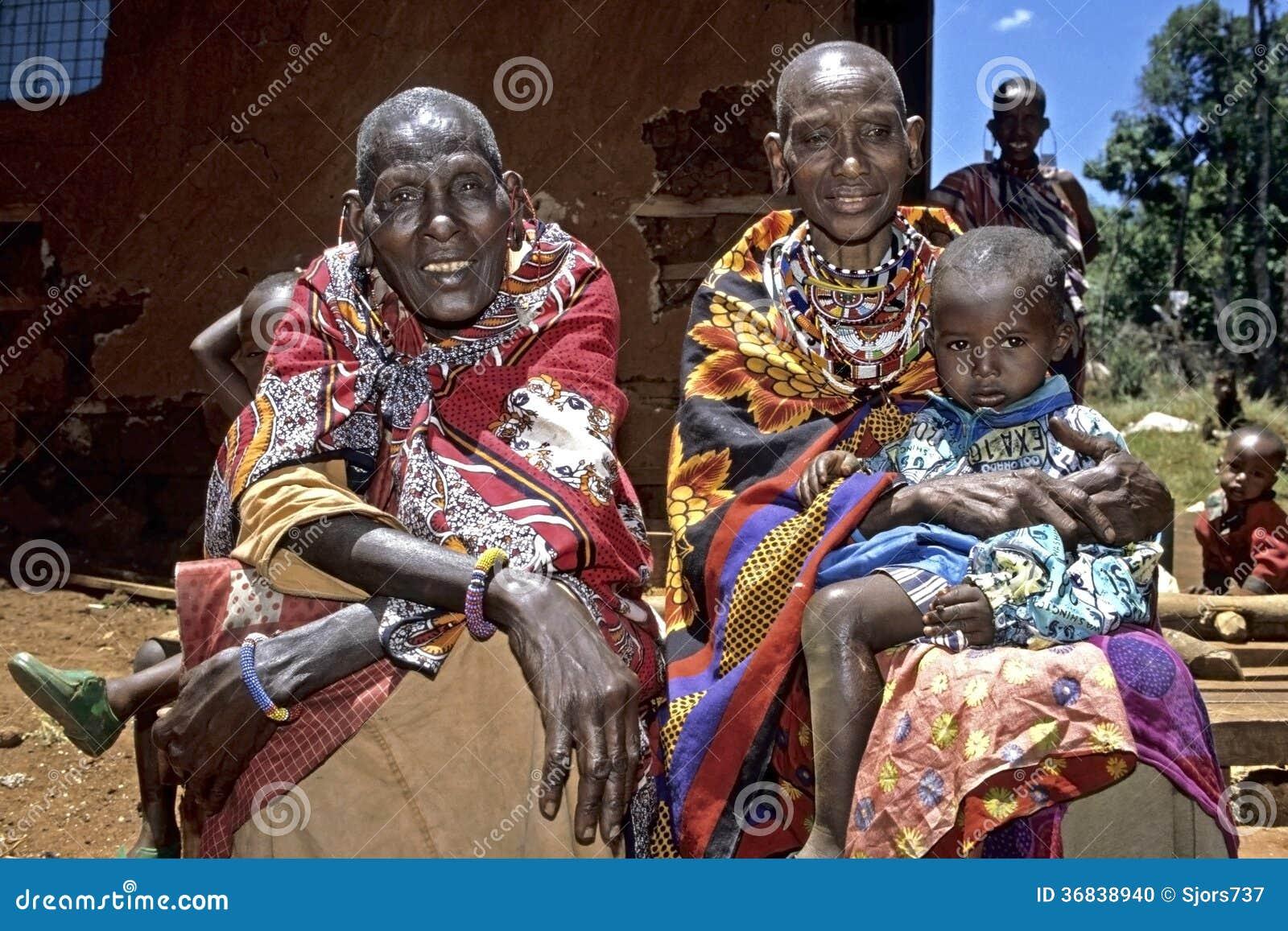 group portrait maasai grandmothers and grandchild