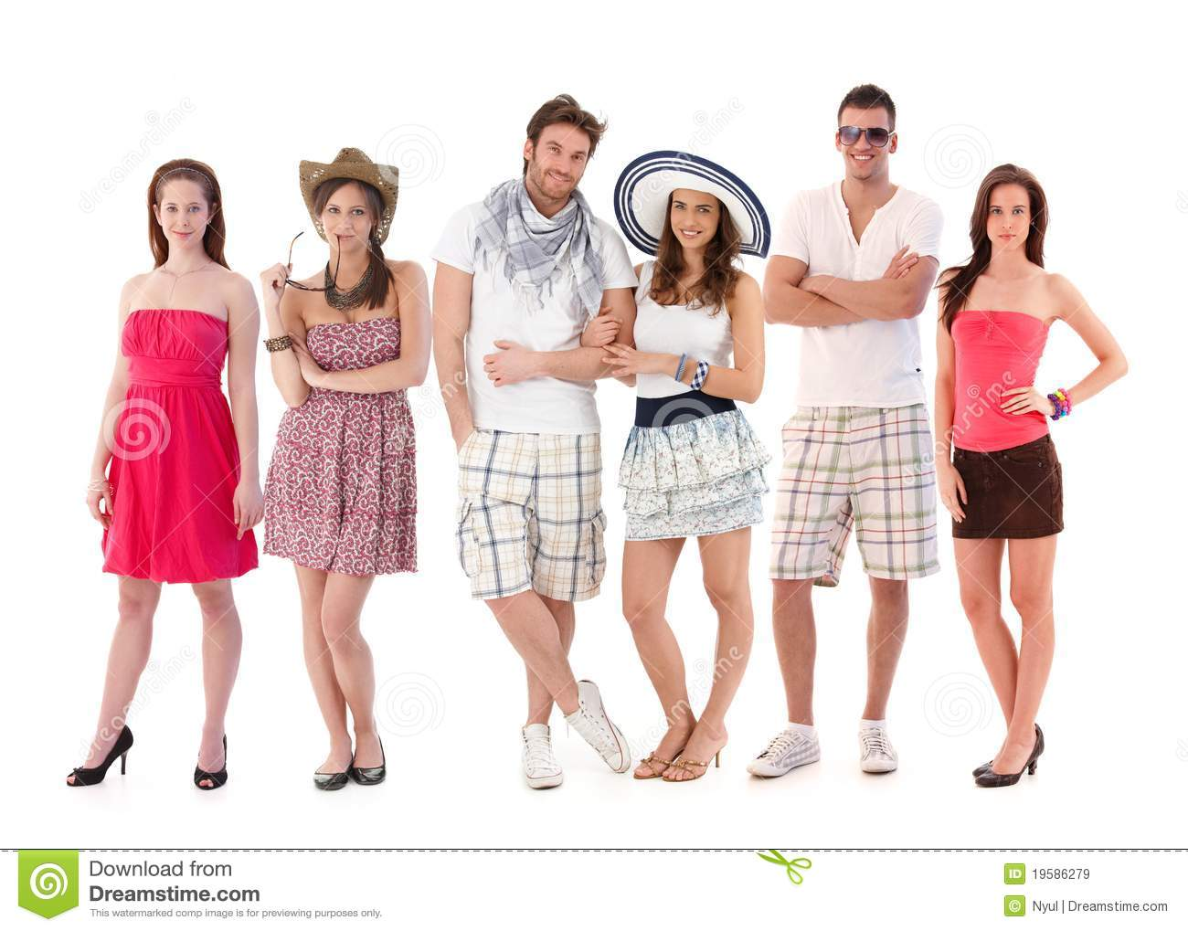 Group Portrait Of Young People In Summer Clothing Royalty Free Stock Images Image 19586279