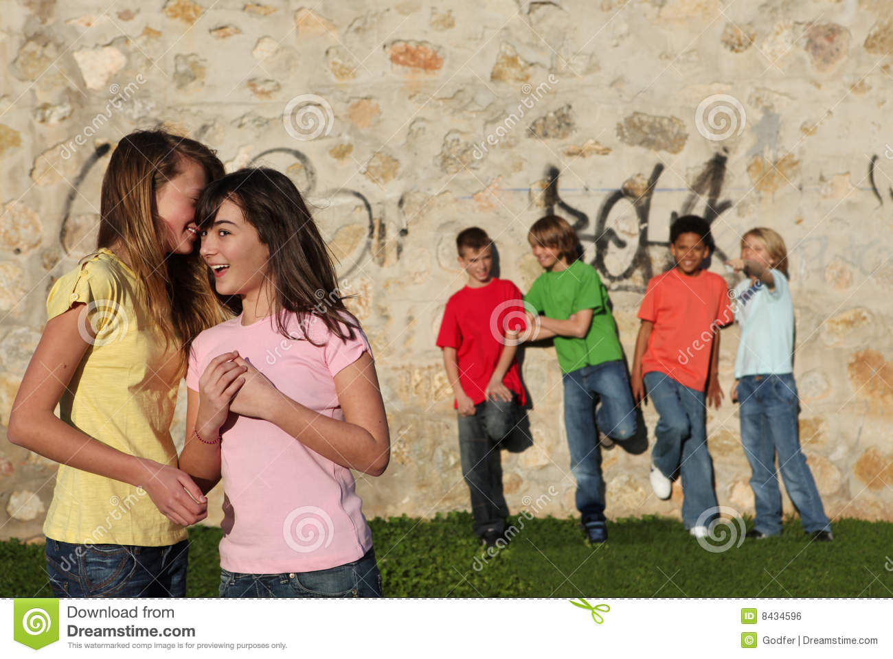 pre teens Group of pre teens whispering Royalty Free Stock Image
