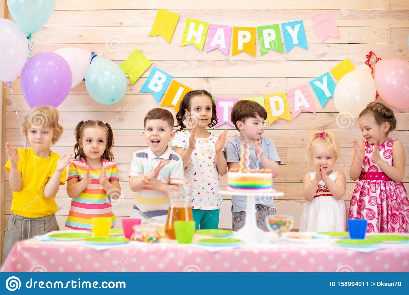 Strange Group Of Kids Clap Their Hands Near Birthday Cake Balloons On Funny Birthday Cards Online Chimdamsfinfo