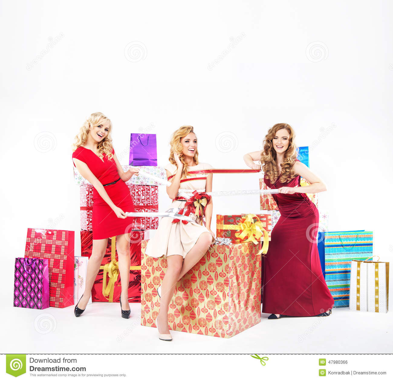 Group Of Pretty Ladies With Christmas Gifts Stock Photo - Image of ...