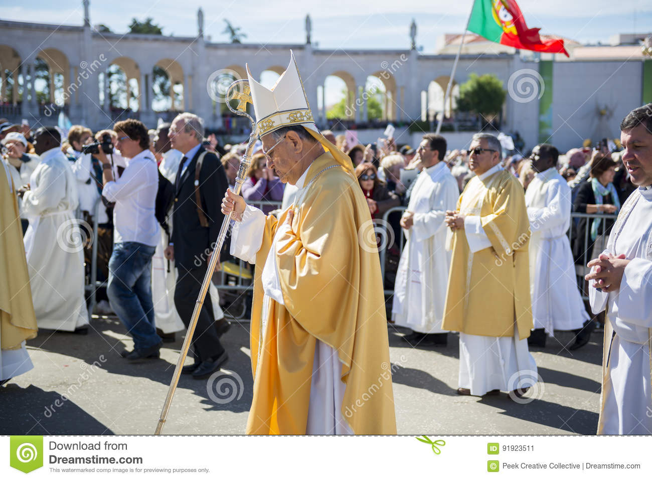 Group of Priests at the Sanctuary of Fatima during the celebrations of the apparition of the Virgin Mary in Fatima, Portugal.
