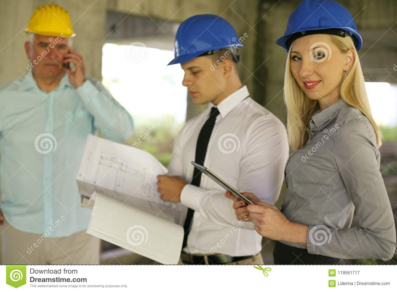 Group of professional construction managers.