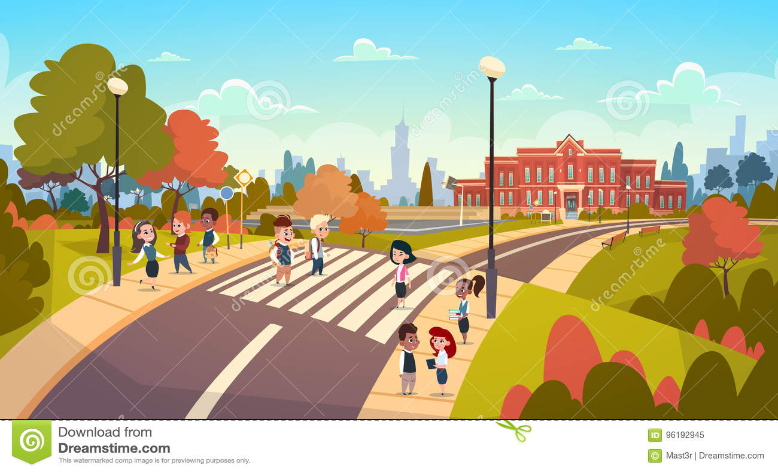 Group Of Pupils Walking On Crosswalk Mix Race Students Go To School Crossing Street