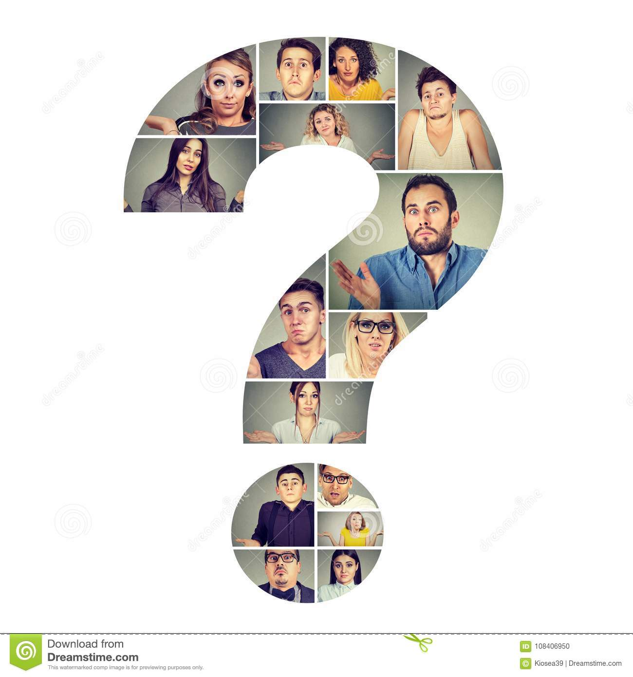 Group of puzzled people in question mark