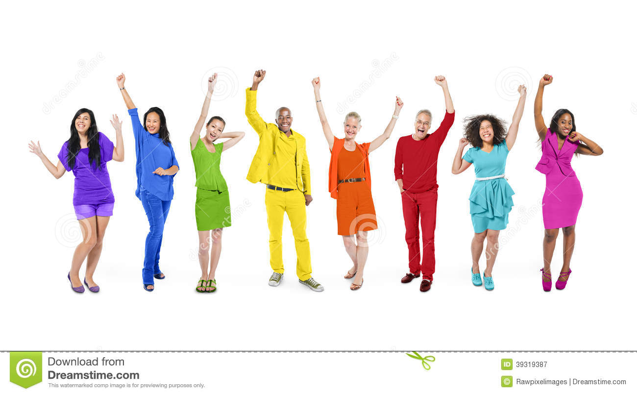 Group Of Rainbow Themed Multi-Ethnic People Stock Photo - Image ...