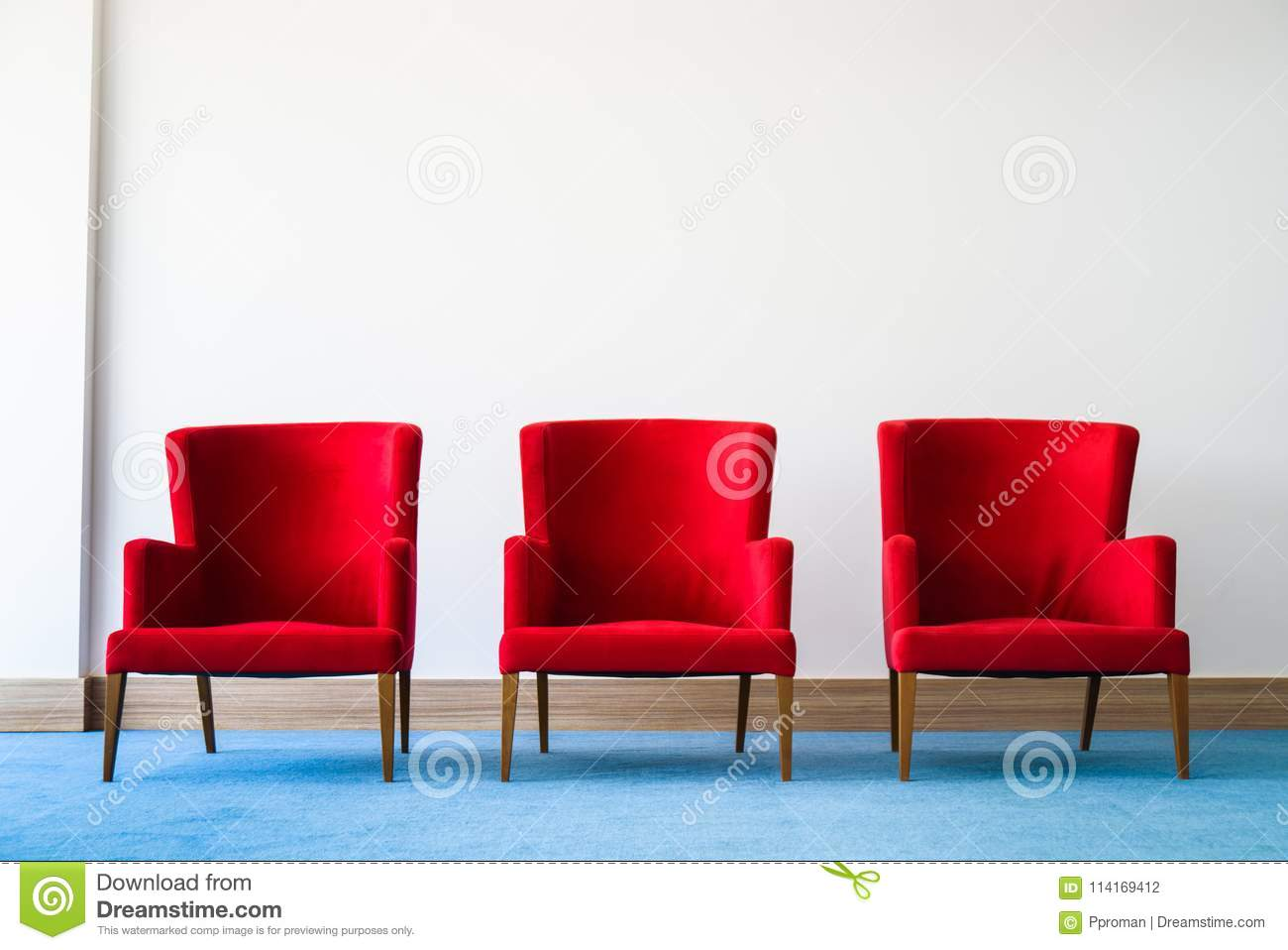 Cool Red Chair In White Interior Stock Photo Image Of Idea Pabps2019 Chair Design Images Pabps2019Com