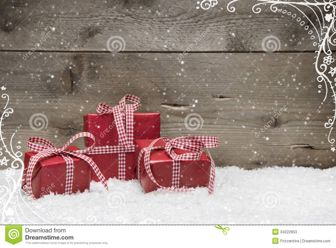 Group Of Red Christmas Presents With Snow On Grey Stock Photos