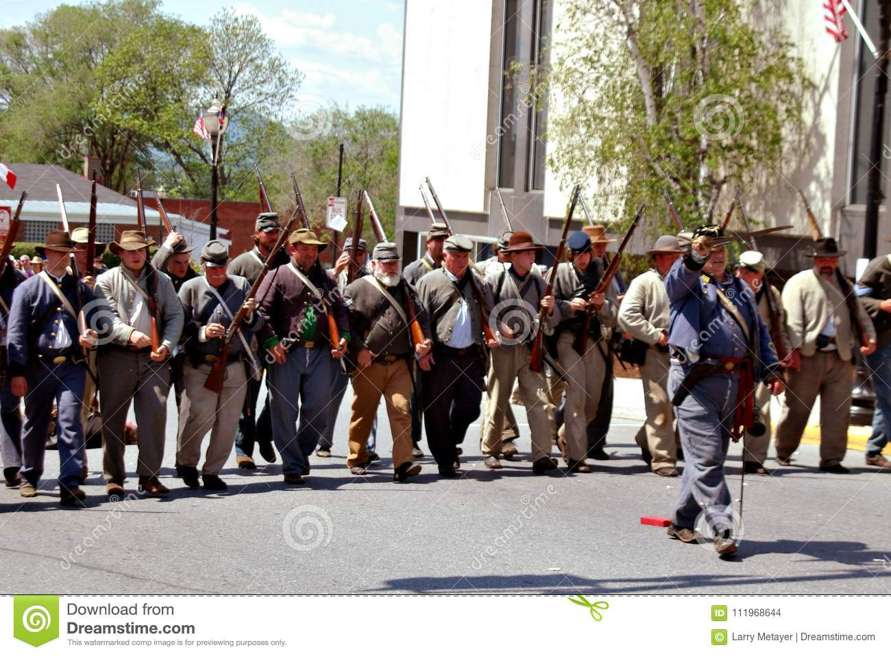 Group of Reenactors Parading in Bedford, Virginia - 2
