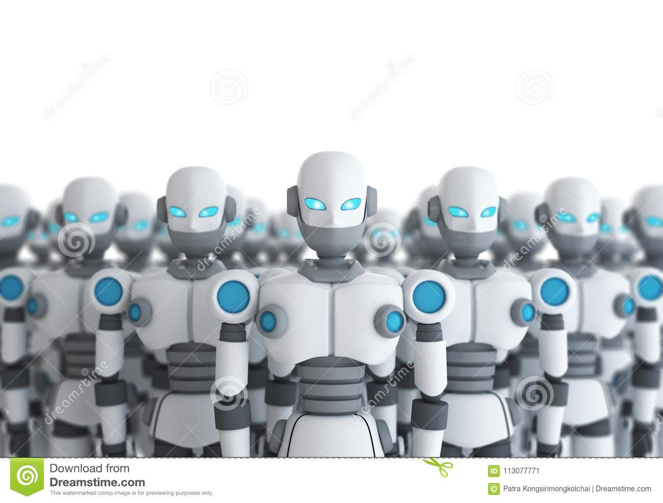 Group of robot on white, artificial intelligence