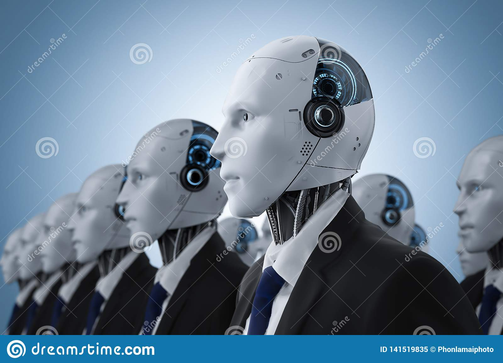 Group of robotic businessman