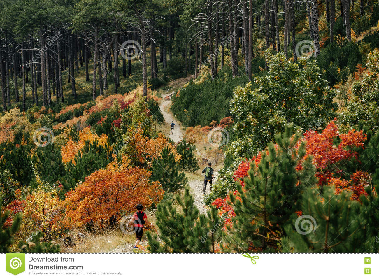 Man Hiking Descend To The Mountain Royalty-Free Stock ...