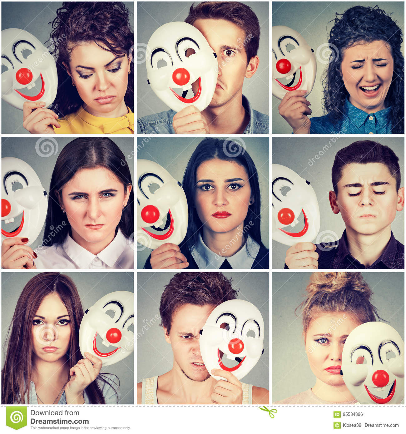 Group of sad angry people hiding real emotions behind clown mask