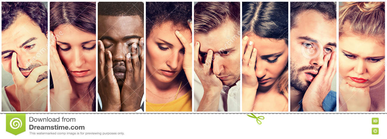 Group of sad depressed people. Unhappy men women
