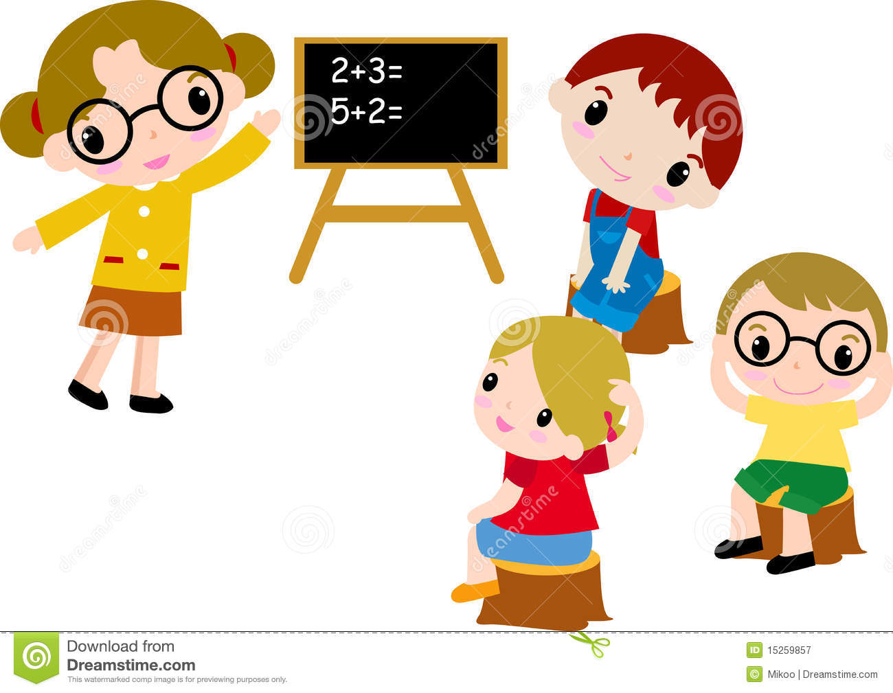 A Group Of School Kids Of Math Stock Vector - Illustration of ...