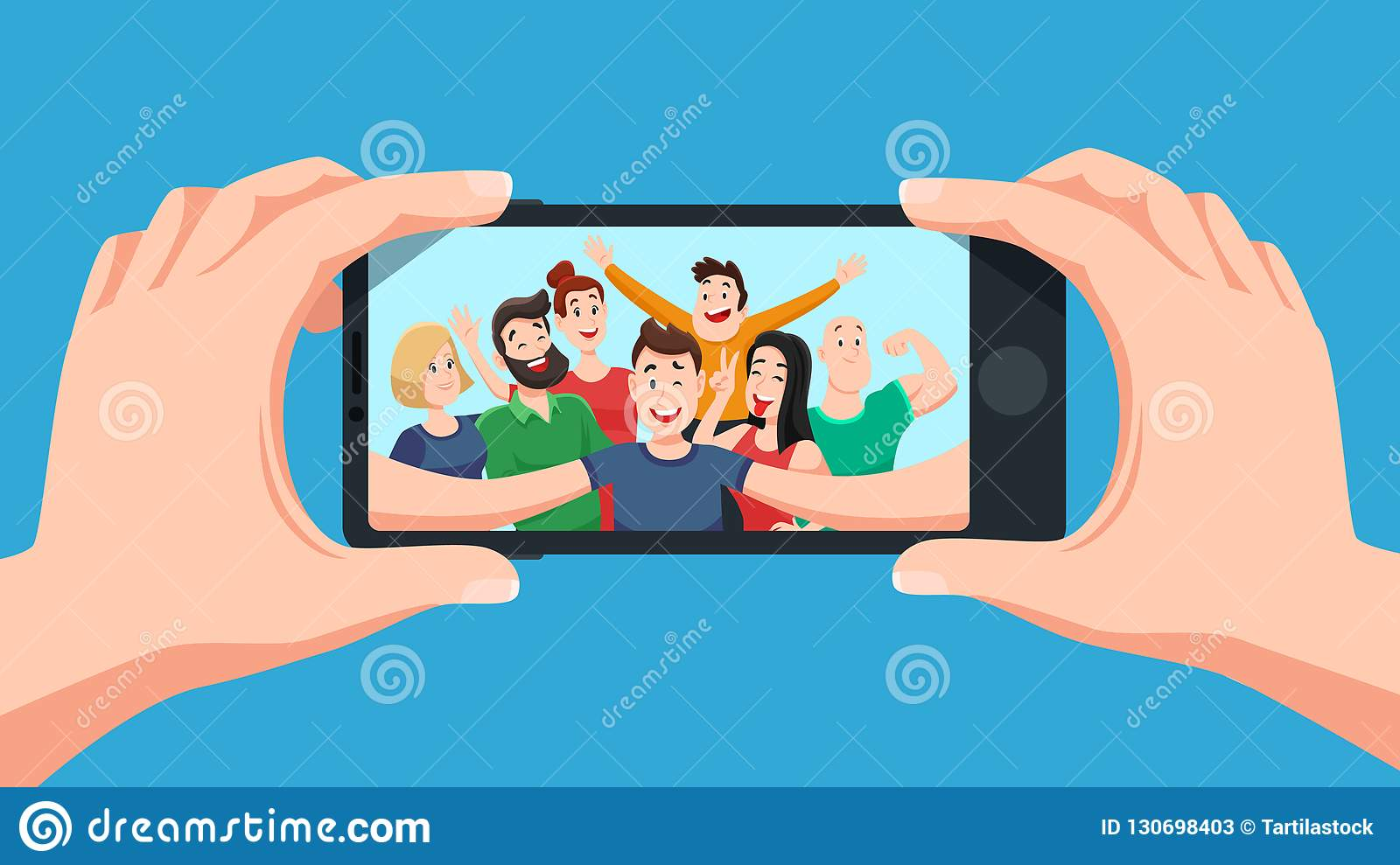 Group selfie on smartphone. Photo portrait of friendly youth team, friends make photos on phone camera cartoon vector