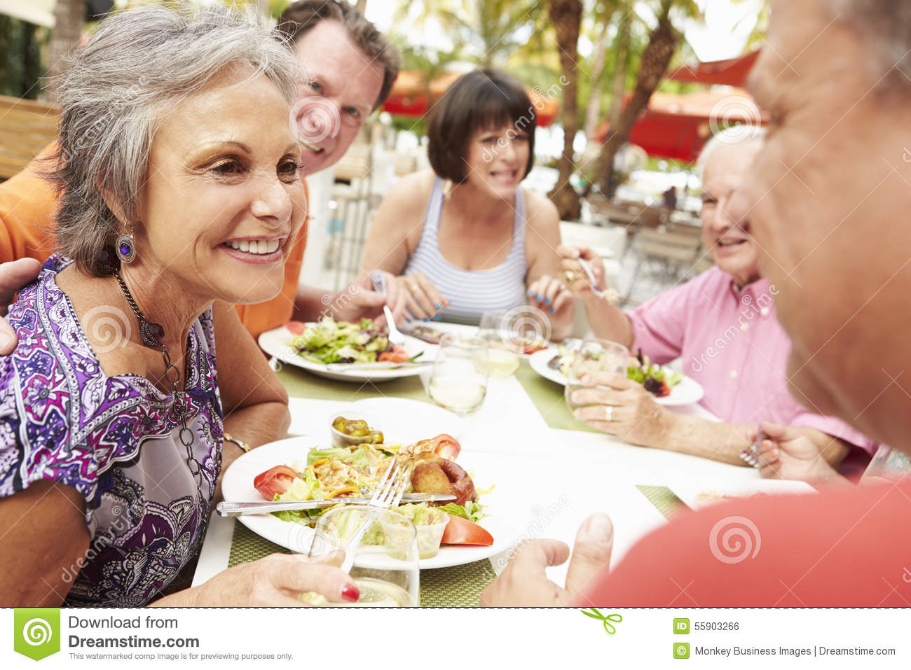 Group of senior friends enjoying meal in outdoor for Meal outdoors