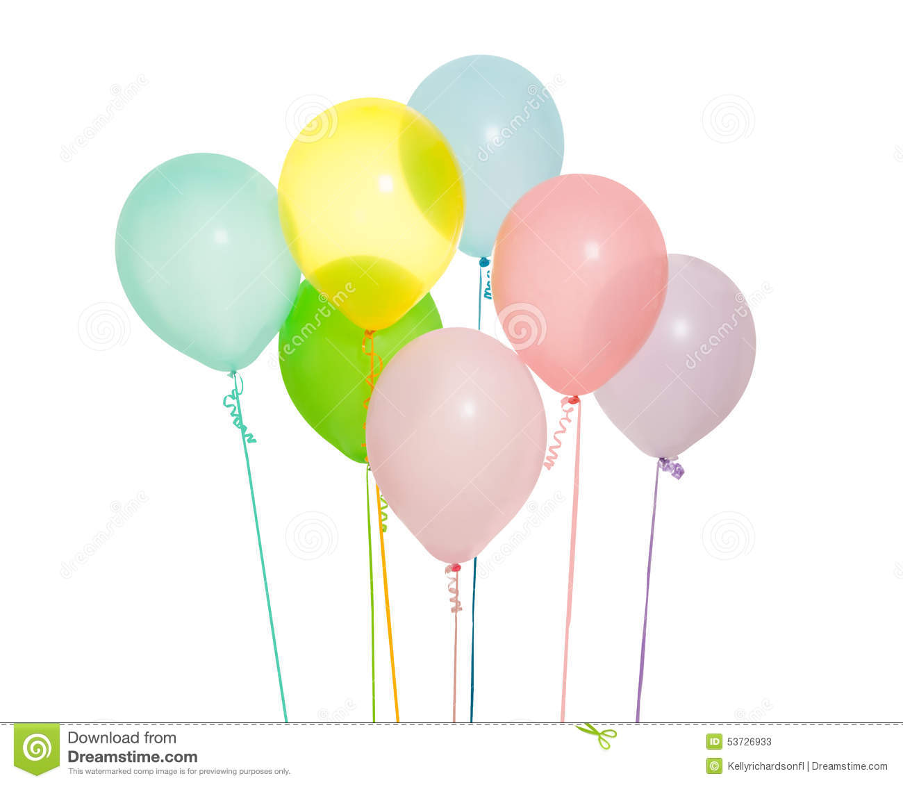 Pastel Purple Pink Green Blue Timber Wood Look: Group Of Seven Balloons Isolated Stock Image
