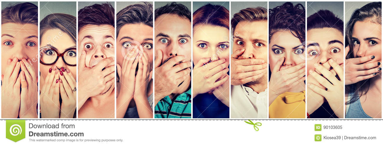Group of shocked people covering their mouth with hands