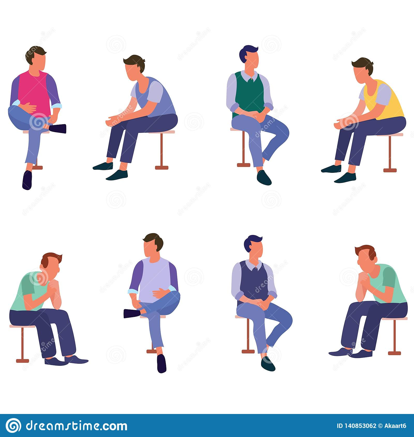 Group of sitting people talking with friend flat icons