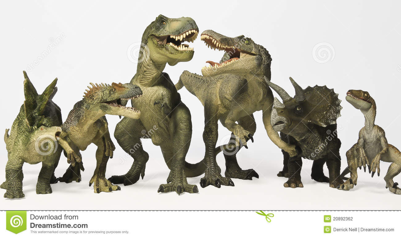 A Group of Six Dinosaurs in a Row