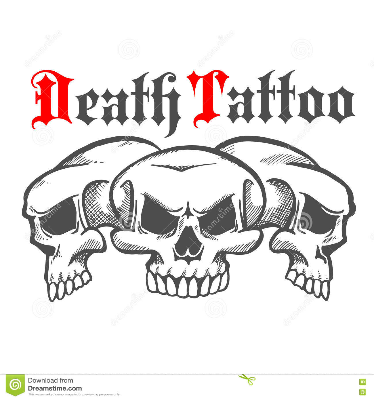 Group of skulls for death tattoo. Download preview