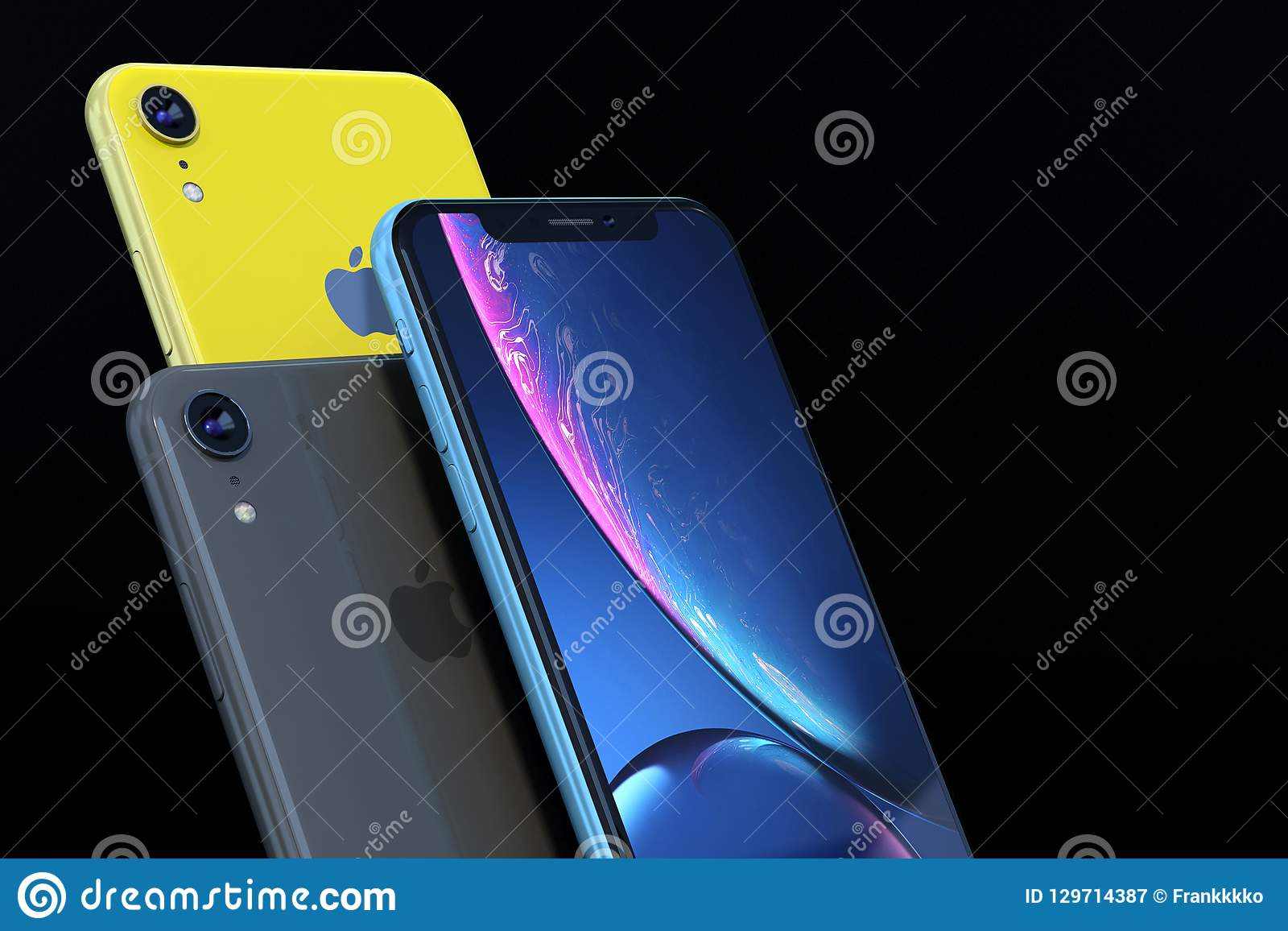 Product Shot Of Iphone Xr Blue And Yellow On Black