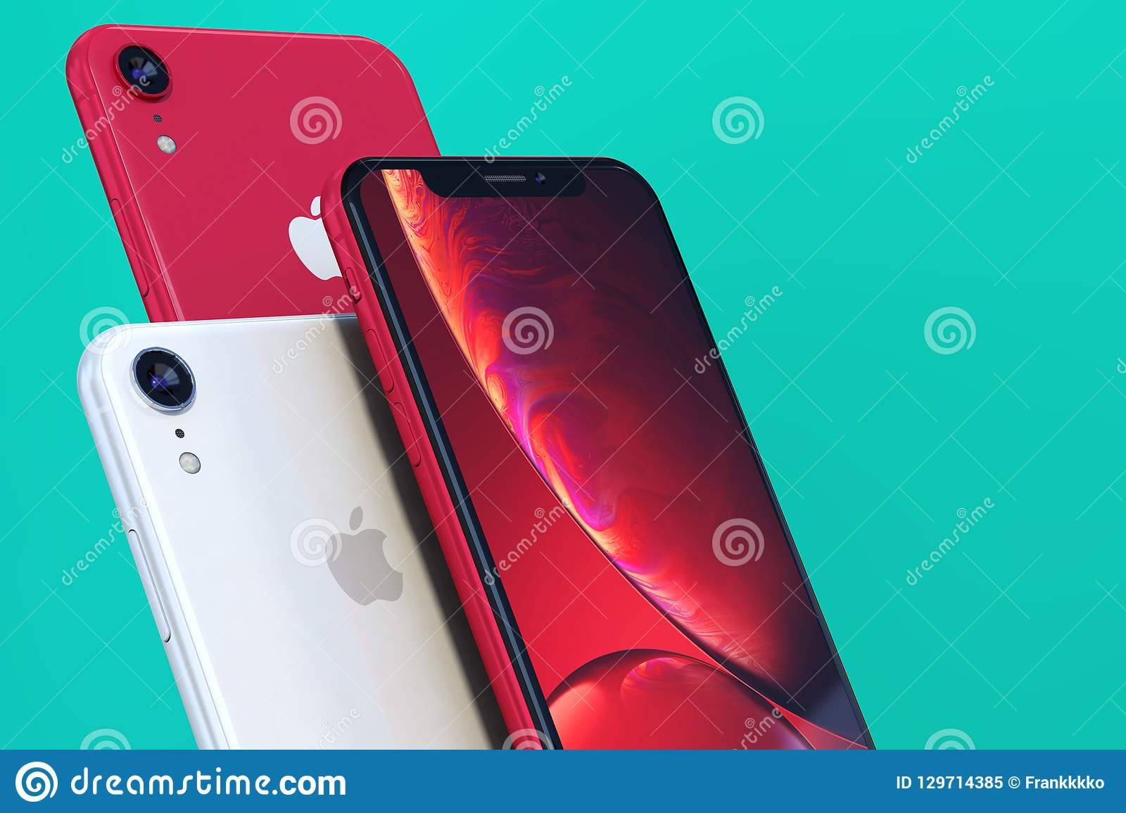 Product Shot Of Iphone Xr Red On Green Background Close Up
