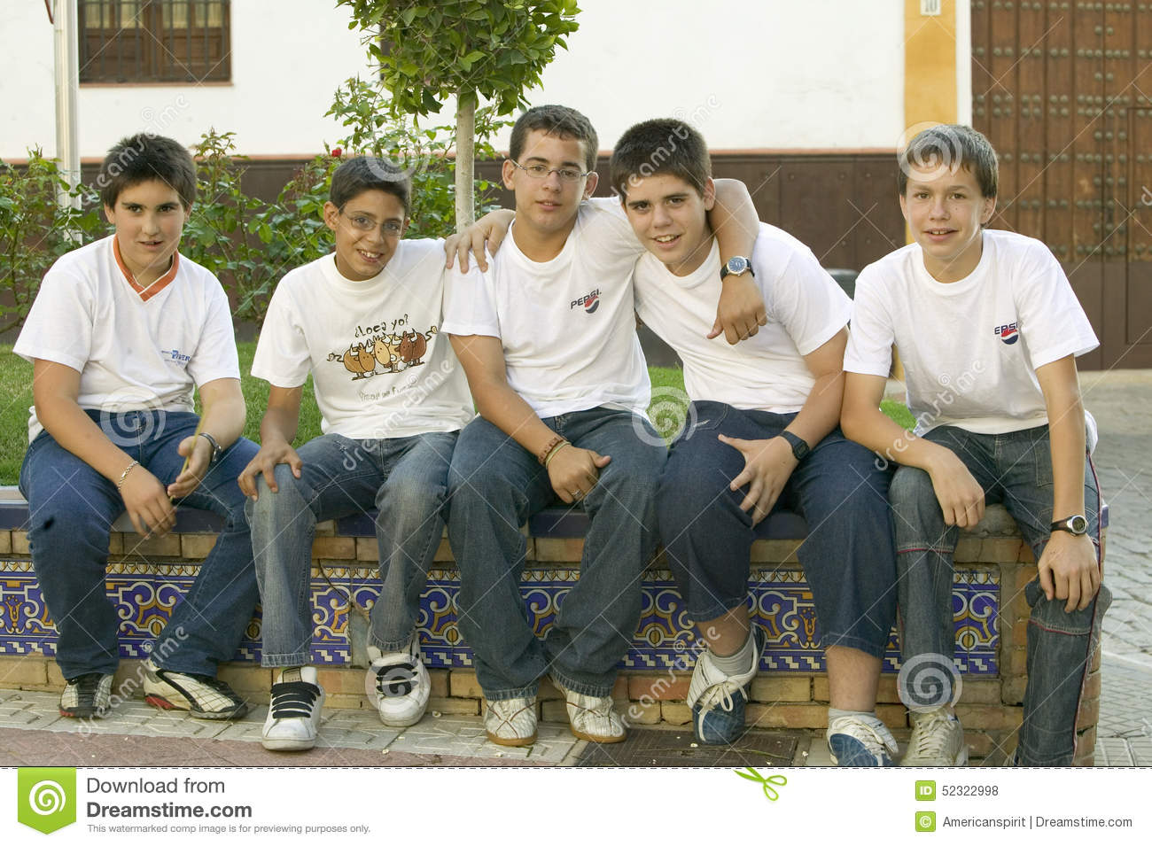 Group Of Smiling Boys In Village Of Southern Spain Off Highway A49 West Of Sevilla Editorial Stock Photo Image Of Casual Blue 52322998