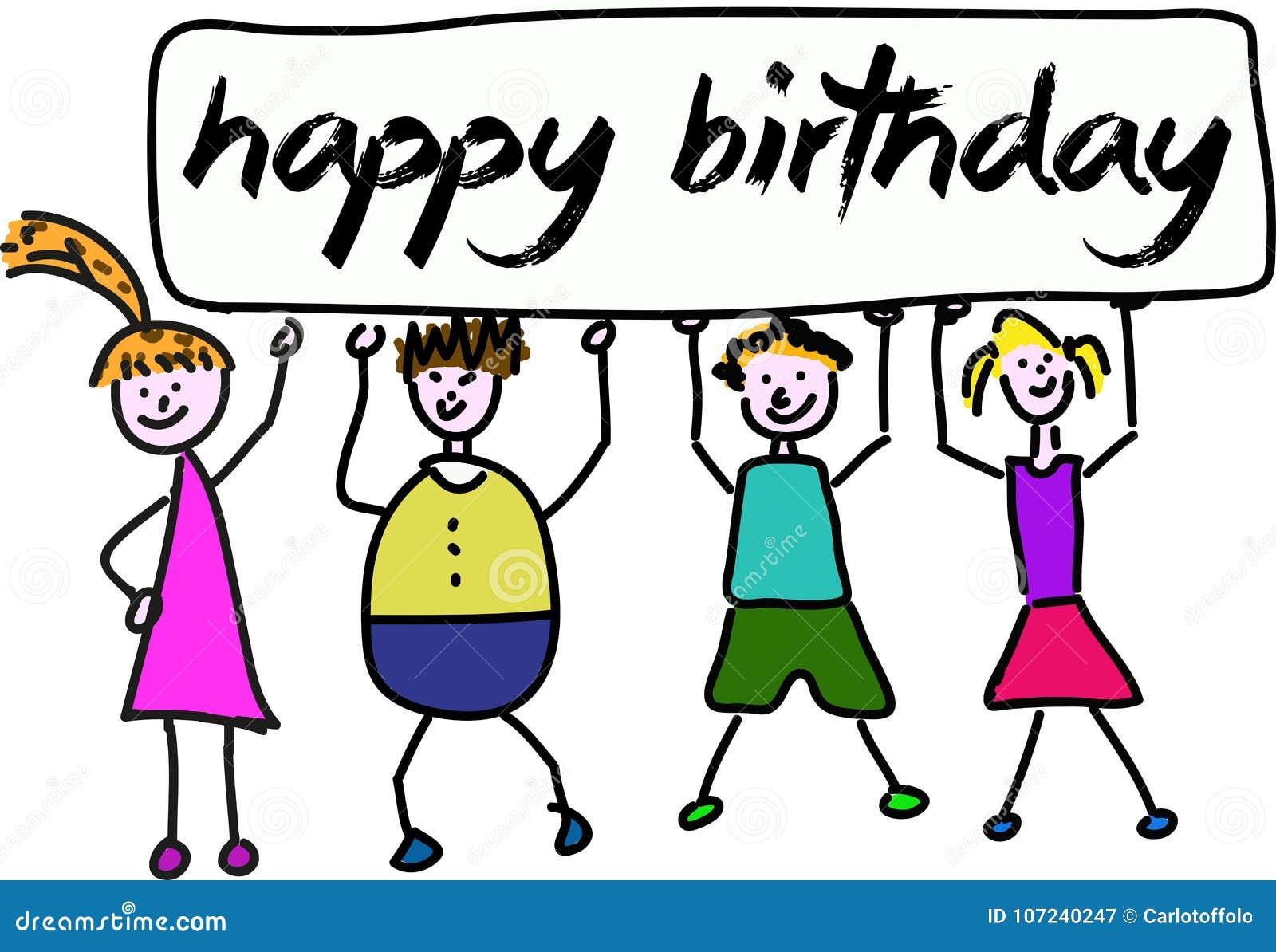 children holding banner happy birthday stock vector - illustration