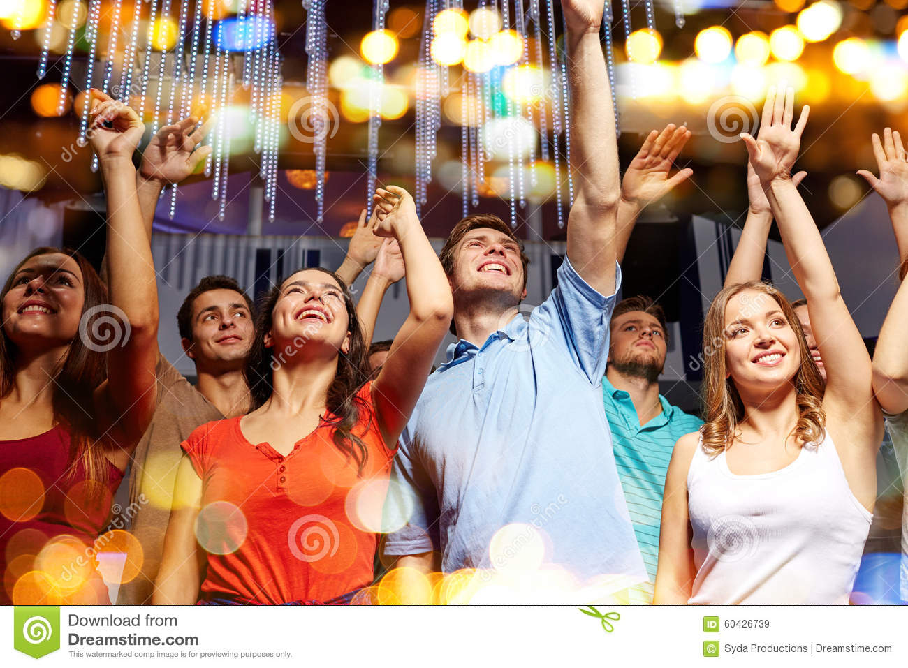Group Of Smiling Friends At Concert In Club Stock Image ...