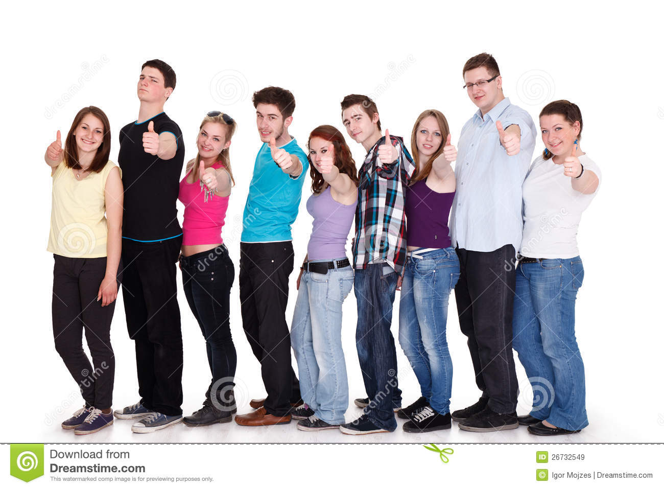 Group of smiling friends standing in row