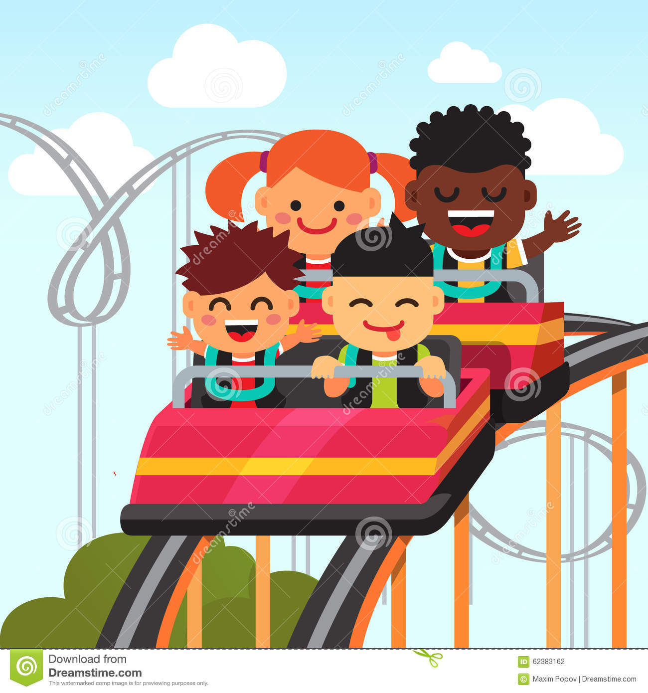 Group Of Smiling Kids Riding Roller Coaster Stock Vector ...