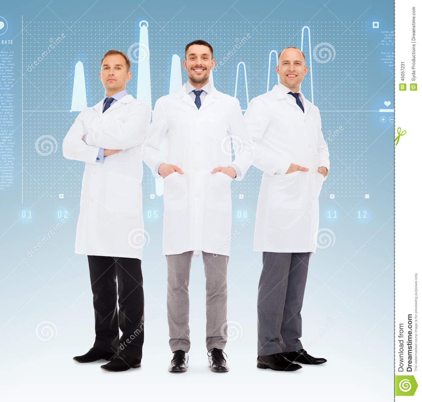 Group Of Smiling Male Doctors In White Coats Stock Illustration ...