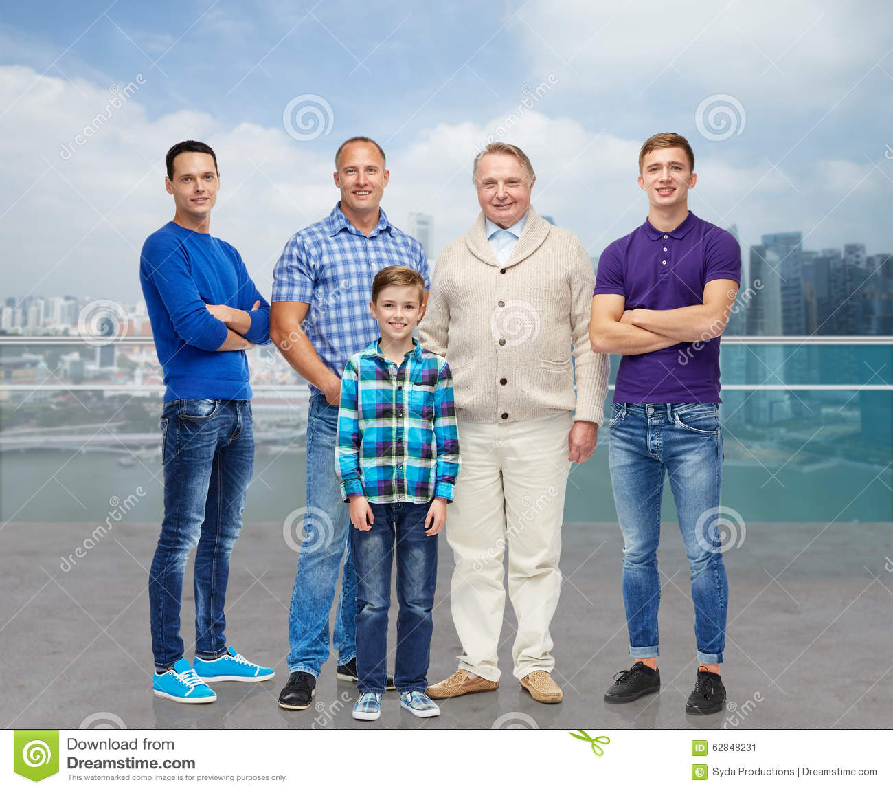 Men S Health Singapore: Group Of Smiling Men And Boy Stock Image