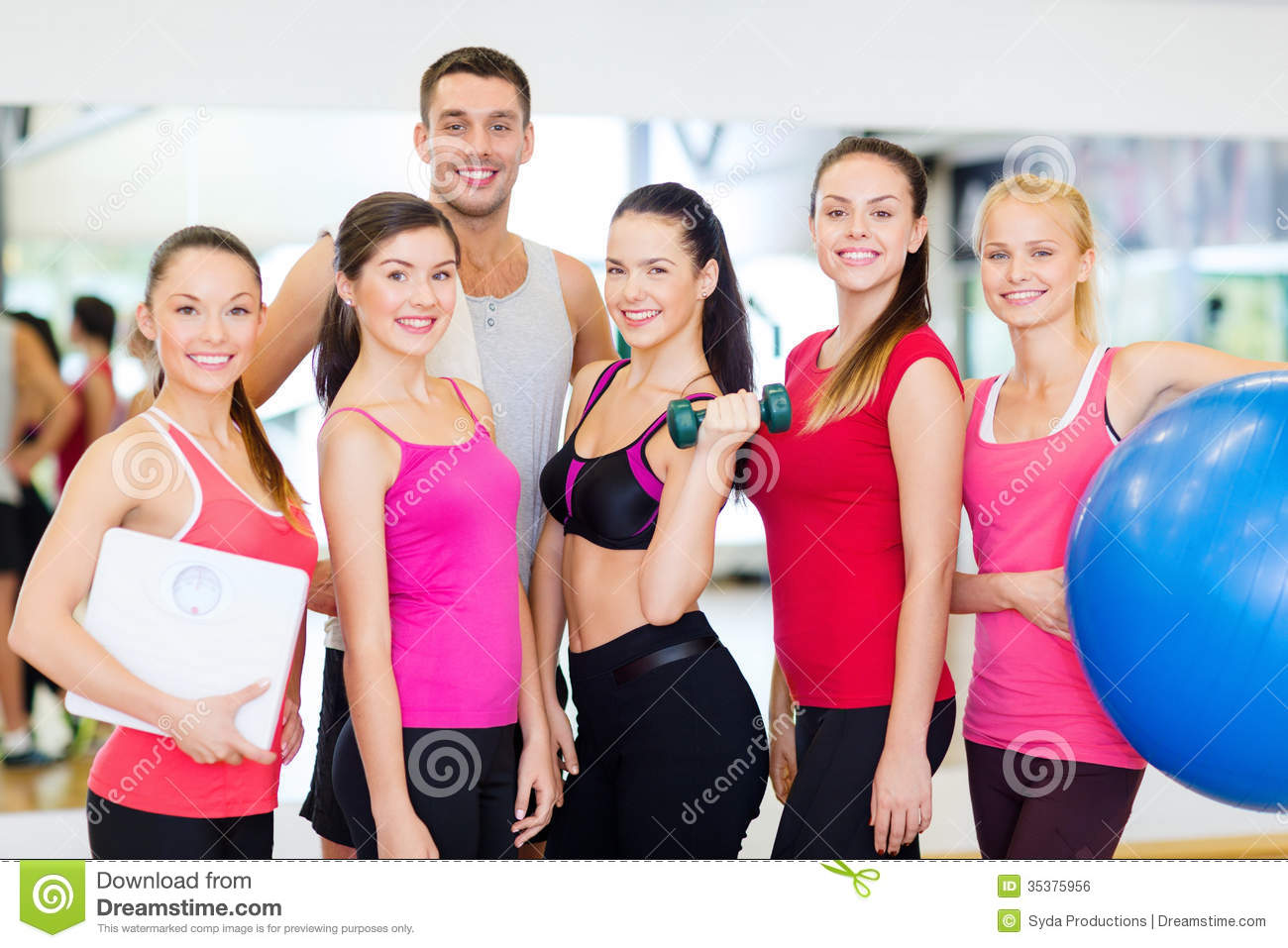 Group Of Smiling People In The Gym Royalty Free Stock