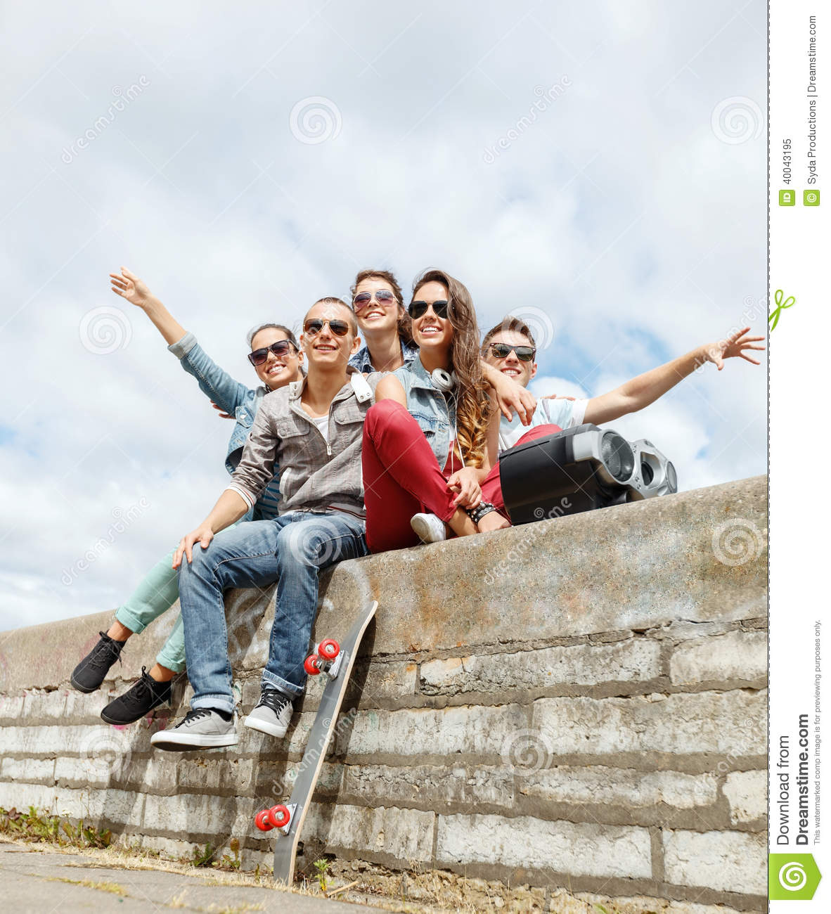 Group of smiling teenagers hanging out stock photo image for Hanging groups of pictures