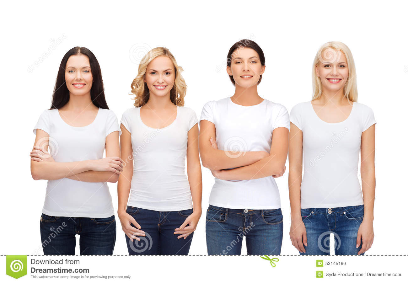 Group Of Smiling Women In Blank White T Shirts Stock Photo Image 53145160
