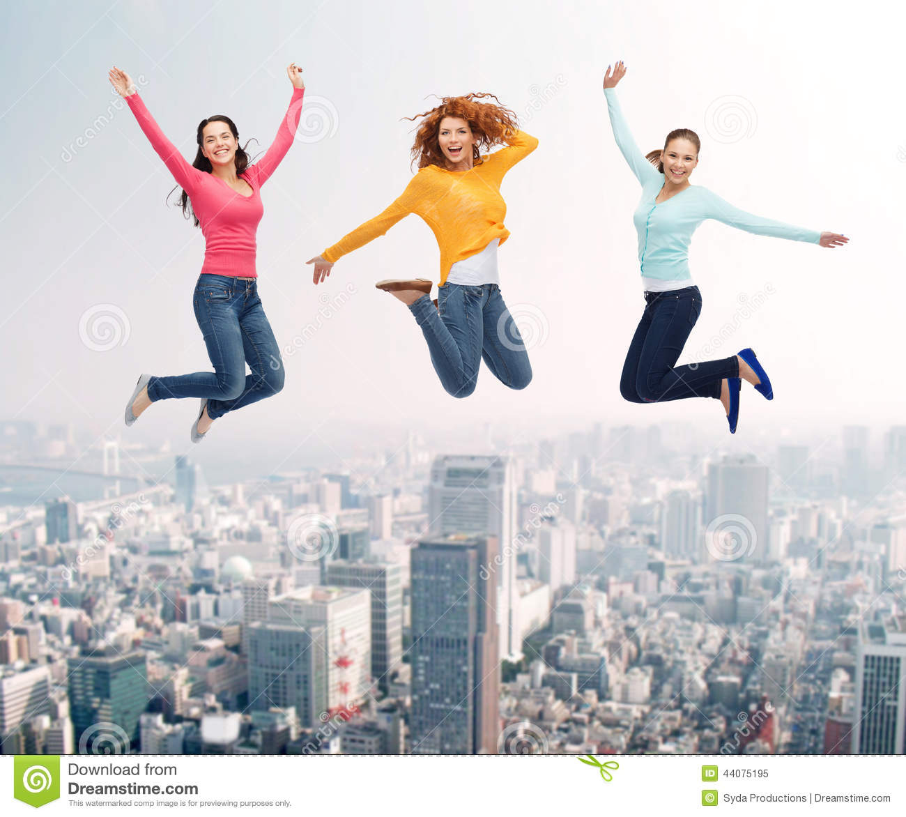 Group Smiling Women Jumping Air Happiness Freedom Friendship Movement People Concept Young Woman Man Over City Vector Images