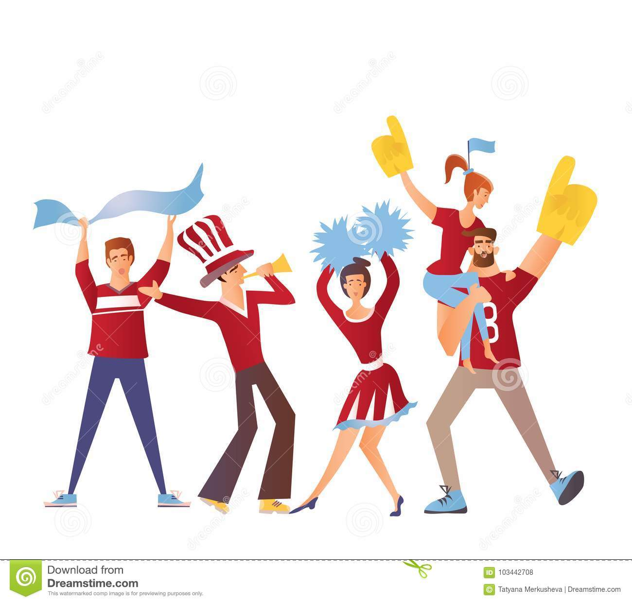 Group of sport fans with attributes cheering for the team. Flat vector illustration on a white background. Isolated