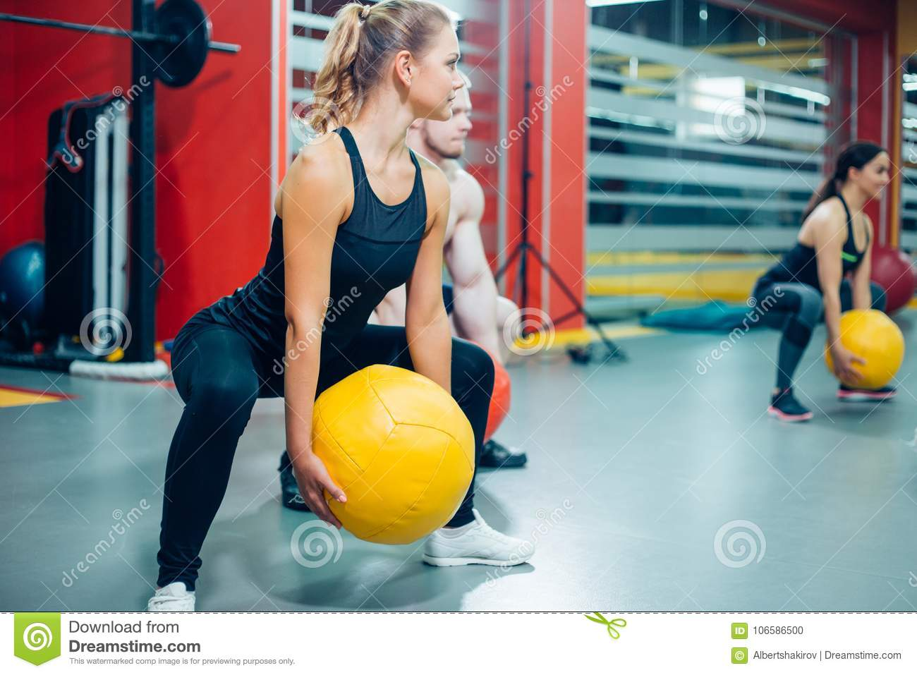 Cross Fit Woman With Ball In Gym Stock Photo - Image of fitness, equipment:  106586500