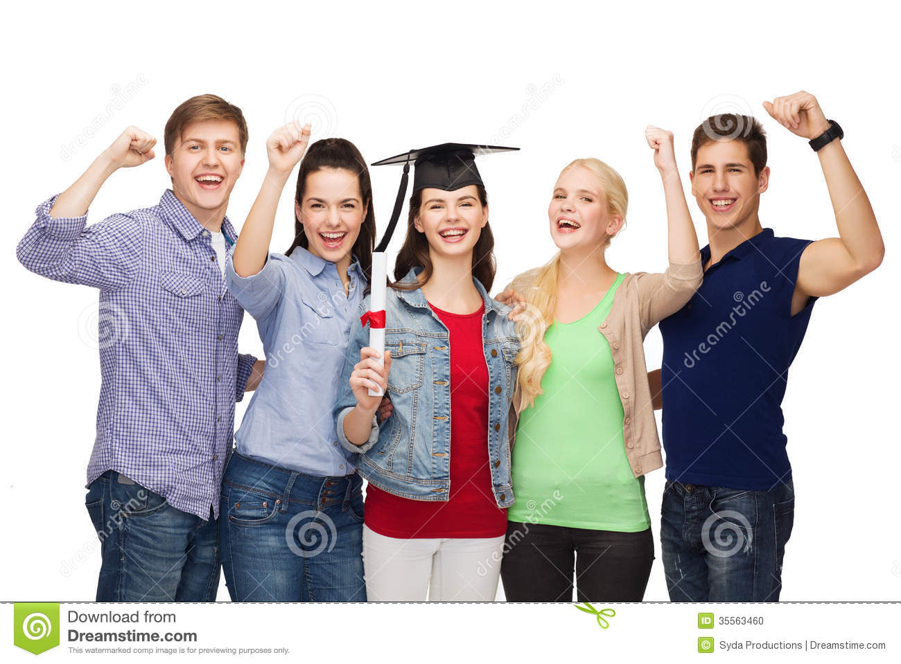 group of standing smiling students diploma stock photo  group of standing smiling students diploma