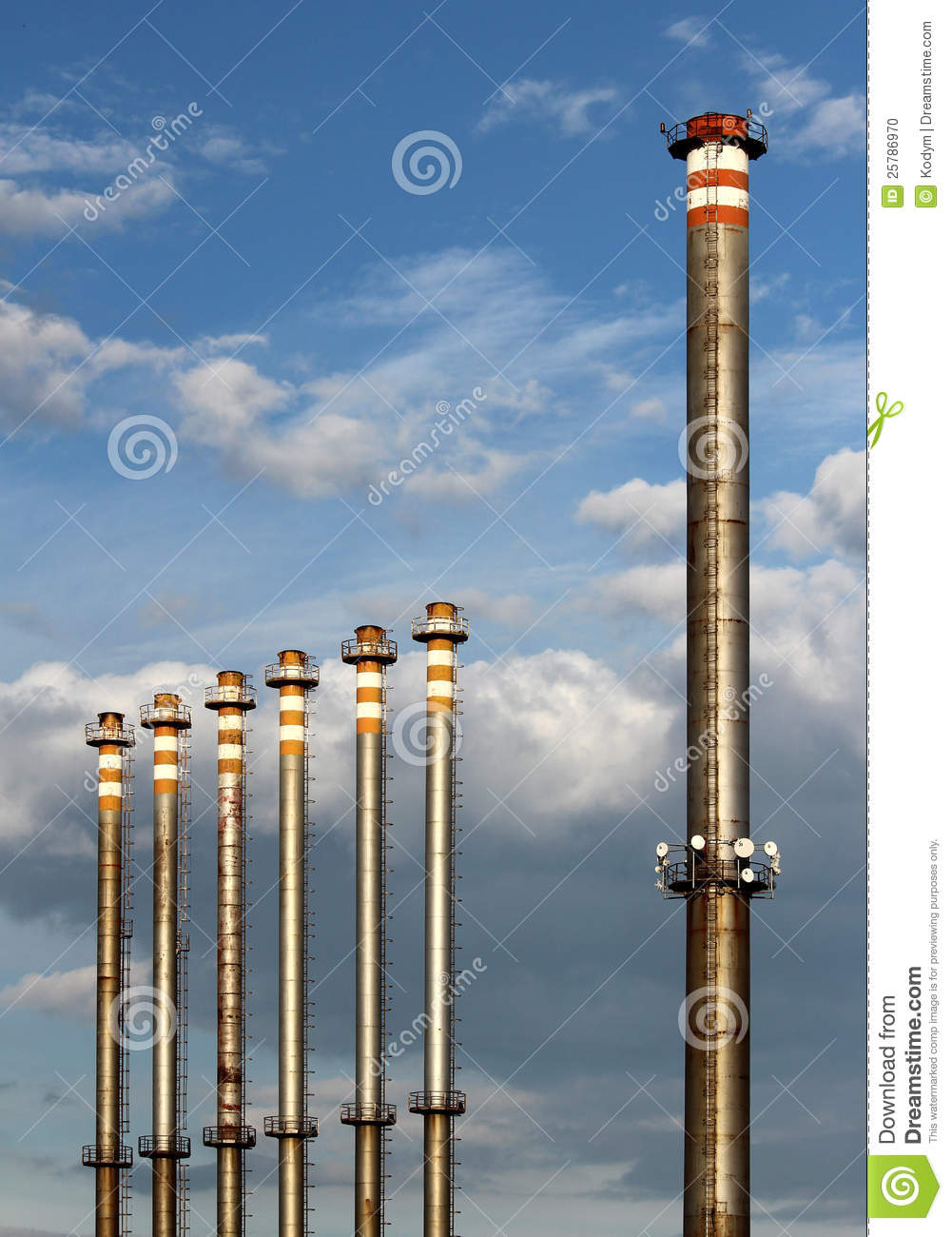 Group Of Steel Factory Chimney Stock Photo Image 25786970