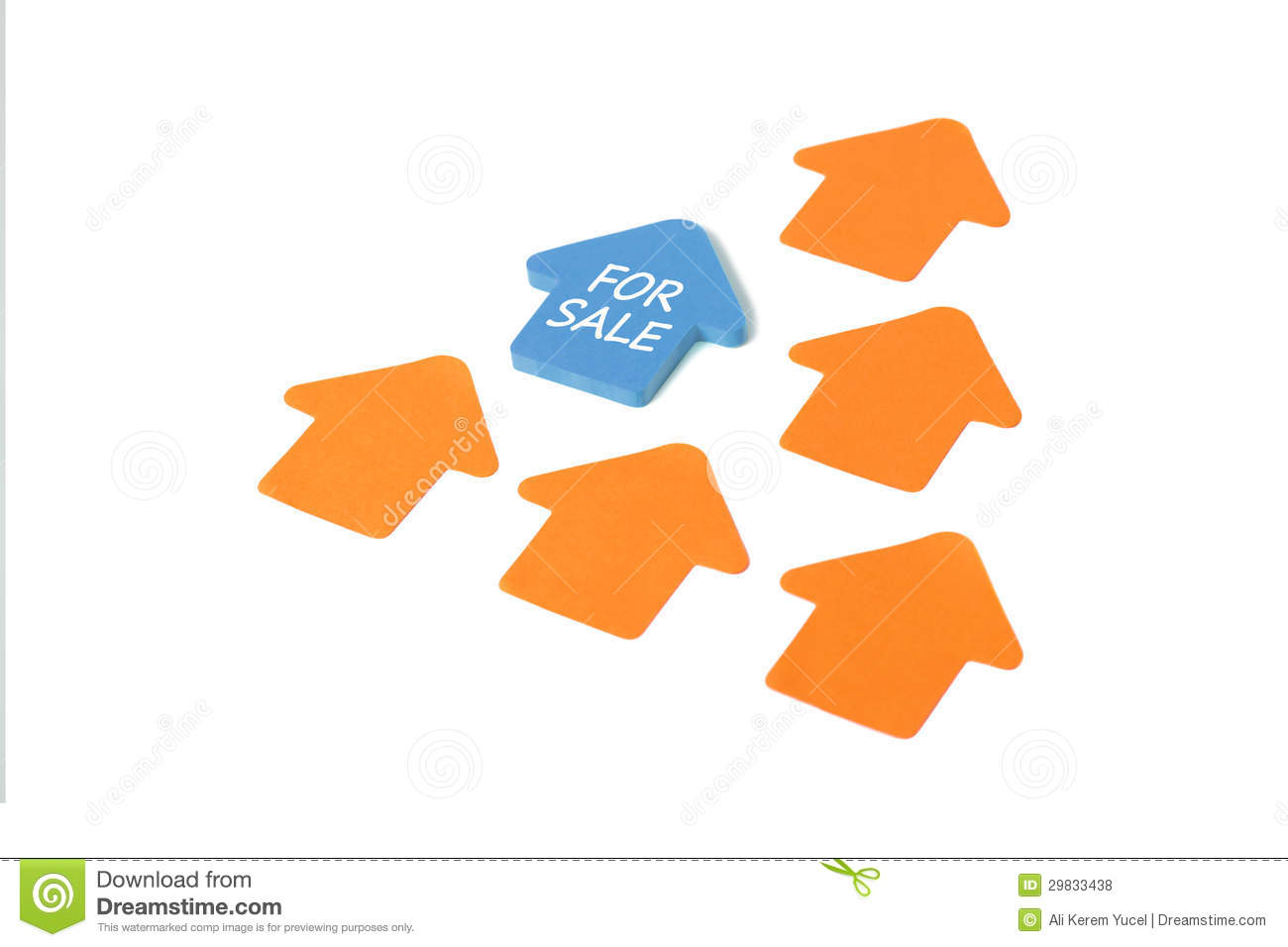 House for sale post it royalty free stock photos image for Business cards shaped like a house